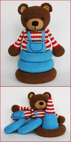 Spielzeug stapeln [Crochet Patterns and Free Crochet Patterns] Toys Pat. Spielzeug stapeln [Crochet Patterns and Free Crochet Patterns] Toys Patterns free baby dol Beau Crochet, Crochet Mignon, Crochet Baby Toys, Crochet Bear, Crochet Toys Patterns, Crochet Gifts, Cute Crochet, Stuffed Toys Patterns, Crochet For Kids