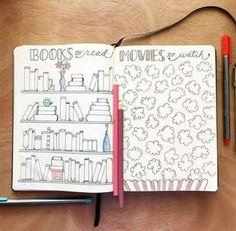 Ideias para bullet journal!!!Páginas decorativas para anotar os filmes assistidos e os livros lidos!!
