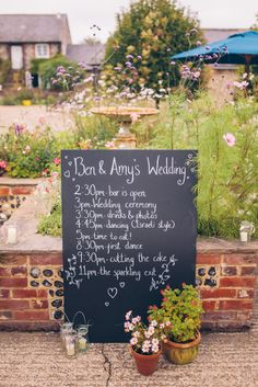 Chalkboard order of events | English country wedding | Upwaltham Barn | Story & Colour Photography | London