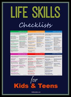 Teach children life skills such as self awareness interpersonal skills decision making skills and personal management skills. These life skills checklists for kids and teens provides parents teachers and counselors with a quick reference as to what s Life Skills Activities, Teaching Life Skills, Teaching Kids, Life Skills Kids, Skills List, Life Skills Lessons, Life Skills Classroom, Skills To Learn, Self Help Skills