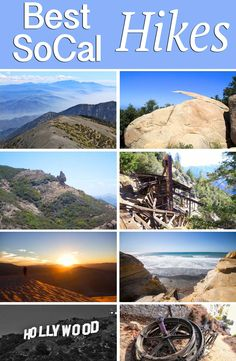 Top Hiking Trails in Southern California. Featuring spots like: Mt Baldy, Hollywood Sign, Devil's Punchbowl, Rings Trail, Kelso Dunes, Murpheys Ranch.