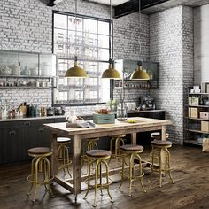 comedores con estilo industrial taburetes, lamparas cocina en color amarillo