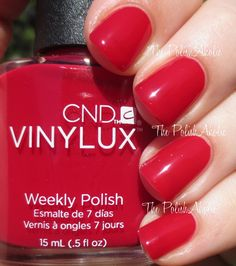 CND Vinylux Fall 2014 Modern Folklore Collection Swatches :  Rose Brocade is a red creme. This has pink undertones so its nice and bright on the nail. The formula was good, it had a really nice creamy consistency and was easy to apply. I used 2 coats for the photos below.