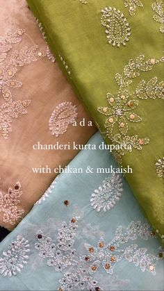 Ada showcases chikankari on chanderi fabric with beautiful paisley and floral motifs with ornamentation of mukaish work. Reach us out on +91-8795160153 for more details.