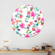Discover «Roses bouquet watercolor», Limited Edition Disk Print by Ninola - From 95€ - Curioos