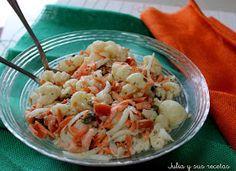 Ensaladas, ensalada de coliflor, salsa de mostaza, recetas de coliflor, Julia y sus recetas