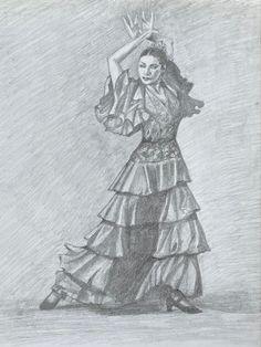 Original pencil drawing of a flamenco dancer by IGLA Flamenco Dancers, Pencil Drawings, Original Artwork, Ink, Watercolor, The Originals, Design, Pen And Wash, Watercolor Painting