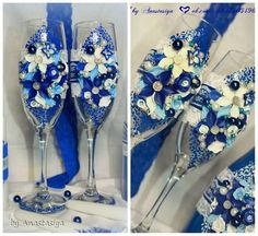 Декор предметов Свадьба Лепка Свадебный набор в синем цвете Пластика фото 2