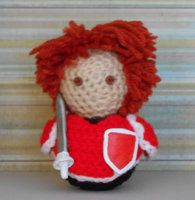 Handmade amigurumi doll based off the character class Fighter from the Final Fantasy game series.
