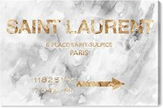 """The Oliver Gal Artist Co. Fashion and Glam Wall Art Canvas Prints '19948 Saint Sulpice Road Sign Marble' Home Décor, 24"""" x 16"""", Gray, Gold Saint Laurent Handbags, Decorative Signs, Eco Friendly House, Canvas Signs, Oliver Gal, Paris, Canvas Prints, Wall Art, Marble"""