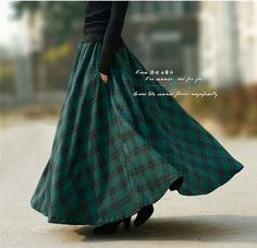 2016 Autumn new fashion long plaid skirt vintage maxi wool skirt plus size women's casual ankle-length skirt with pockets