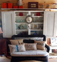 country cottage style furniture, farmhouse and painted furniture, candles, linens