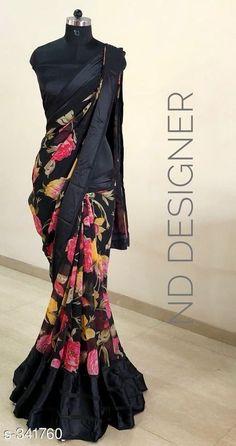 Satin starting WhatsApp free COD Sangeetha Designer Satin Patta Sarees Vol 9 Fabric: Saree - Satin , Blouse. Floral Print Sarees, Printed Sarees, Floral Prints, Saree Draping Styles, Saree Styles, Indian Dresses, Indian Outfits, Indian Attire, Look Fashion