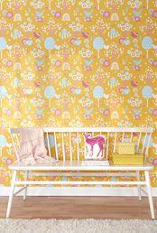 Cherry valley keltainen lastenhuoneen tapetti - Majvillan