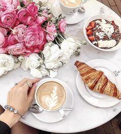 Pluk Breakfast, Pluk Coffee, Pluk Croissant, Pluk Bowl, Flowers, Pink