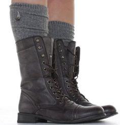 shoefashionista -Bottes à lacets Femme Militaire Noir Vintage Chaussures Plates Bottines: Amazon.fr: Chaussures et Sacs