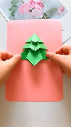 Diy Crafts Hacks, Diy Crafts For Gifts, Paper Crafts For Kids, Diy Arts And Crafts, Christmas Paper Crafts, Diy Christmas Cards, Oragami Christmas, Holiday Crafts, Instruções Origami