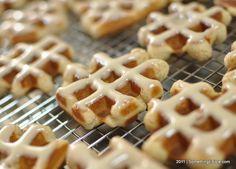 Pennsylvania Dutch Cinnamon Waffle Cookies with Maple Glaze