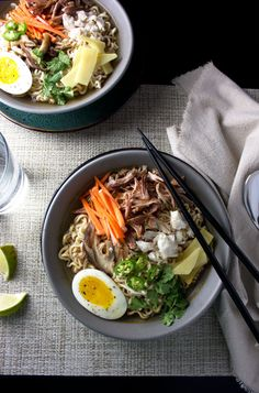 This is not your mama's ramen soup. This is Asian pulled pork and crab ramen soup with a soft boiled egg. And it's bomb. Just bomb.