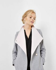 Short wrap coat - Grey Marl   Jackets & Coats   Ted Baker ROW