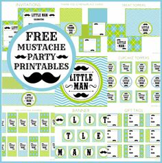 Free Little Man Mustache Party Printable