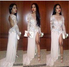 diyouth.com long sleeve prom dress white Split dress Diyouth 2015 Long Open Back Sequin Prom Dress Champagne Formal Evening Dresses