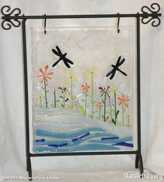 Flowers and dragonflies fused glass art @Sue Rath