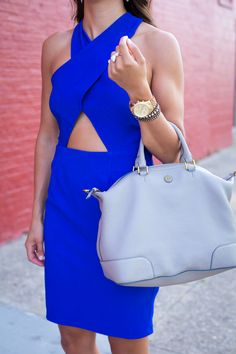 Blue Cut Out Dress, Fourth of July Outfit- A Southern Drawl