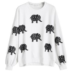 Drop Shoulder Elephant Print Sweatshirt White ($28) ❤ liked on Polyvore featuring tops, hoodies, sweatshirts, drop-shoulder tops, elephant top, elephant print top, elephant sweatshirt and white top