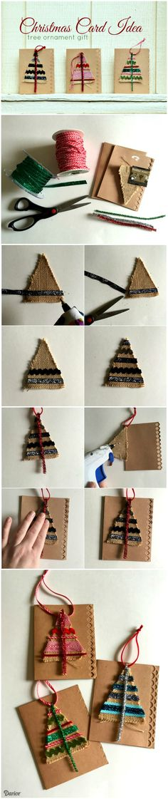 This Christmas card idea doubles the impact of your holiday sentiments this year by also including a handmade tree ornament as part of the card.
