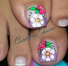 Pedicure Nail Art, Toe Nail Art, Toe Nails, New Nail Art Design, Nail Art Designs, Purple And Pink Nails, Cute Pedicures, Flower Nail Art, Erika