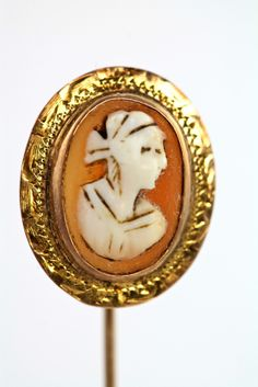 Antique 10k Yellow Gold & Hand Carved Cameo Stick Pin