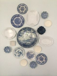 Blue and white plate wall