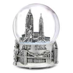 Musical Silver New York City Snow Globe with Sculpture Base, 6 Inch -- Hurry! Check out this great product : Home Decor Snow Globes