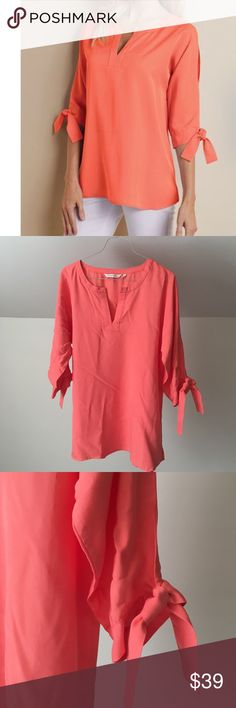 a945757b9bc SOFT SURROUNDINGS Coral Cold Shoulder Tencel Top