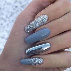 Attractive Acrylic Green and Blue Glitter Coffin NailsTo try the . - Attractive Acrylic Green And Blue Glitter Coffin NailsTo Try This Winter – Chic Cuties - Blue Glitter Nails, Gray Nails, Nail Art Blue, Chrime Nails, Silver Nail Art, Glitter Art, Acrylic Nail Designs Glitter, Oxblood Nails, Blue And Silver Nails