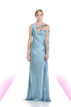 Cyan asymmetrical silk gown with sheer beaded neckline, sleeve, and inset side.  #sheer #sexy #cyan #beading #luxury #fashion #michaeldepaulo