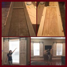 We love the ease of installation of wood look ceramic tile for Barn door window covering