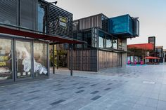 restaurant plan Box Park Dubai - Innovative use of Shipping Containers. Looks great as well Container Office, Container Shop, Cargo Container Homes, Container Cabin, Container Houses, Container Architecture, Container Buildings, Sustainable Architecture, Shipping Container Restaurant