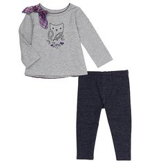 Sweet, sassy and oh-so-stylish, this Koala Baby Girls' Tunic and Legging Set is just the thing for your pretty gal! Exclusively from Babies'R'Us, it includes a long-sleeve shirt with an adorable owl printed on the front; a plaid bow and tiered ruffles on the rear add tons of fun to the look. Comfy leggings with a unique denim-style finish complete the super-cute ensemble. <br><br> The Koala Baby Girls' Tunic and Legging Set - Gray features:<br><ul><li>Includes a long-sleeve shirt and a pair…