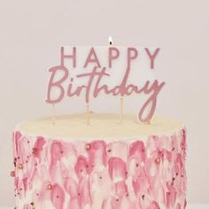 Rose Gold Happy Birthday Candle by Ginger Ray, the perfect gift for Explore more unique gifts in our curated marketplace. First Birthday Candle, Happy Birthday Rose, Birthday Roses, Birthday Cake With Candles, Gold Birthday, Happy Birthday Banners, 1st Birthday Parties, Die Macher, Birthday Accessories