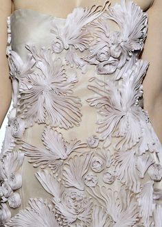Ribbon Quilling - traditional paper rolling technique used with fabric ribbon to create beautiful raised textures & pattern - Valentino - PFW Haute Couture Autumn Winter 2008