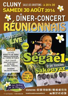 Dîner-concert réunionnais le 30 août à Cluny.