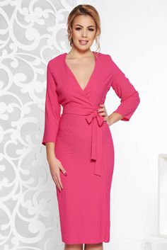 """StarShinerS pink elegant dress with v-neckline nonelastic fabric accessorized with tied waistband, accessorized with tied waistband, tented cut, """"V"""" cleavage, without clothing, 3/4 sleeves, nonelastic fabric, deep cleavage"""