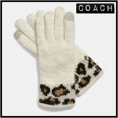 HP  Coach Ocelot Angora Touch Glove Lovely cream and ocelot angora print touch gloves. Super soft.  STYLE NO. F86022.  70% angora/30% nylon Coach Accessories Gloves & Mittens