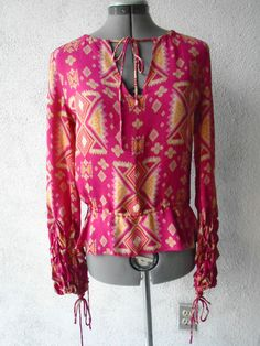 TORY BURCH Cinched Ruched Waist & Sleeves Geo Print Silk Blouse Pink Multi 2 #ToryBurch #Tunic #Casual