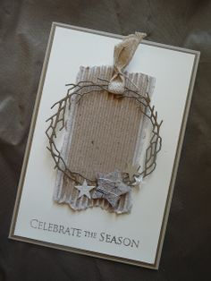handmade Christmas card ... from Germany ... cream and kraft ... die cut twiggy wreath and stars ...