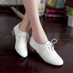 Comfortable White PU Upper Flat Heels