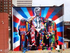 Visiting the city of Lexington in Kentucky, the Brazilian artist painted this replica image of the Lincoln Memorial using his trademark kaleidoscope of colours.