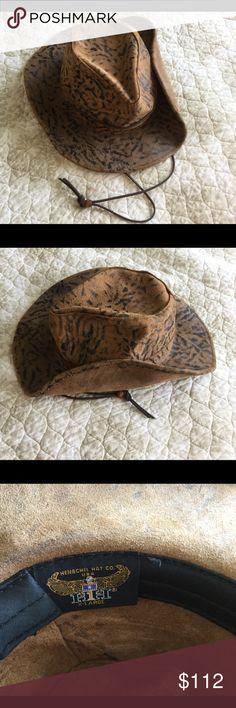 f7c8f13a4b8 HENSCHEL HAT CO. Brown Black Leather Hat Size XL Super handsome Black Brown